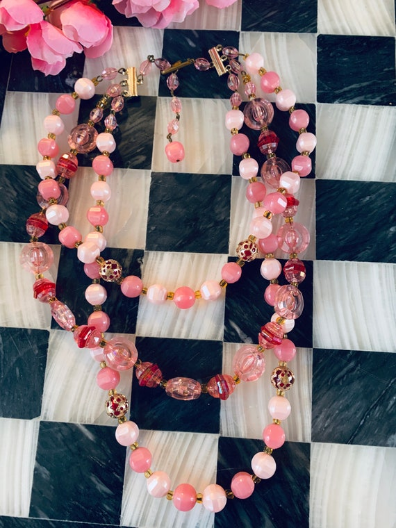 Pretty in Pink Prissy Multi strand Choker Statement Necklace, 1950s Girlie Beads made in West Germany, Date Night, Gift for Sweetheart