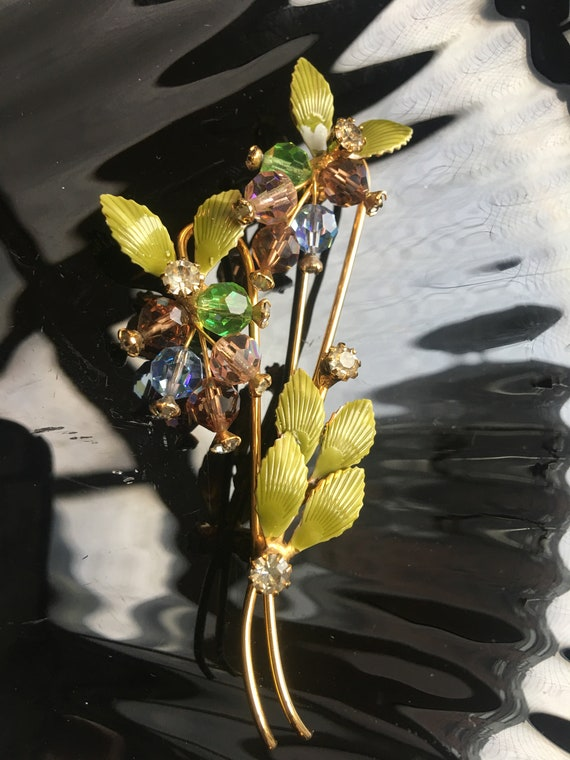 A Perfect Dainty Hattie Carnegie Gentle Spray of Blue & Lavender Crystal Bead Flowers with Wispy Enamel Leaves and Golden Stems, What a Pin!