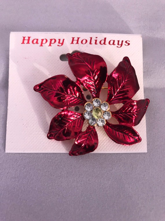 Metalic Red Poinsetta Flower Rhinestone Unisex Holiday Lapel Pin