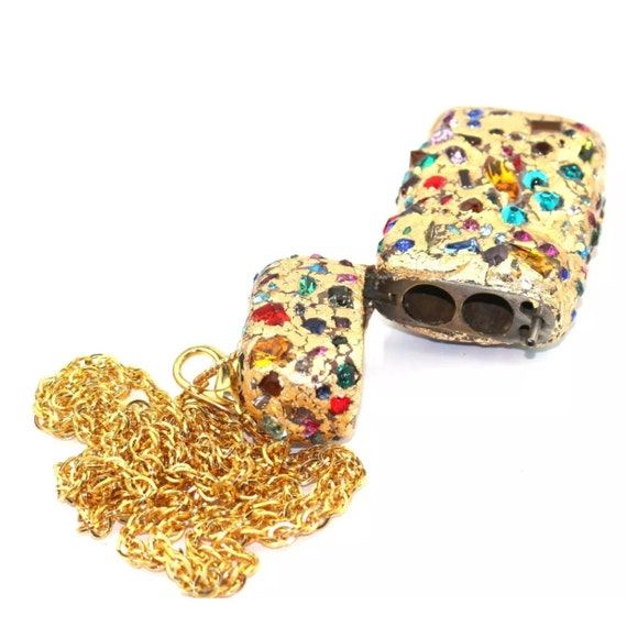 Gay Isber Gold Flake & Rainbow of Crystals Stash Statement Necklace, Treasure Box, Runway Collection One of a kind designer Glamour Jewelry