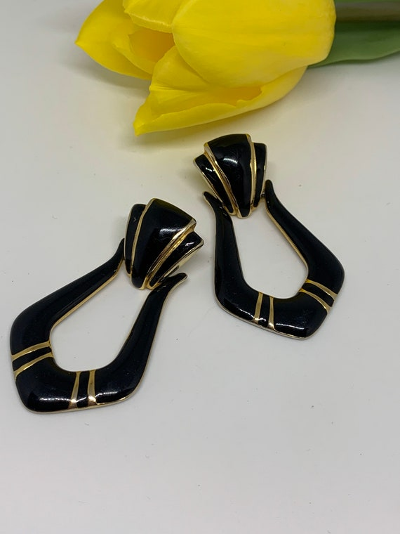 Black Enamel on Goldtone Door Knocker Statement Earrings, Classic Vintage 70s Costume Jewelry, Stylish and Signed with original backs