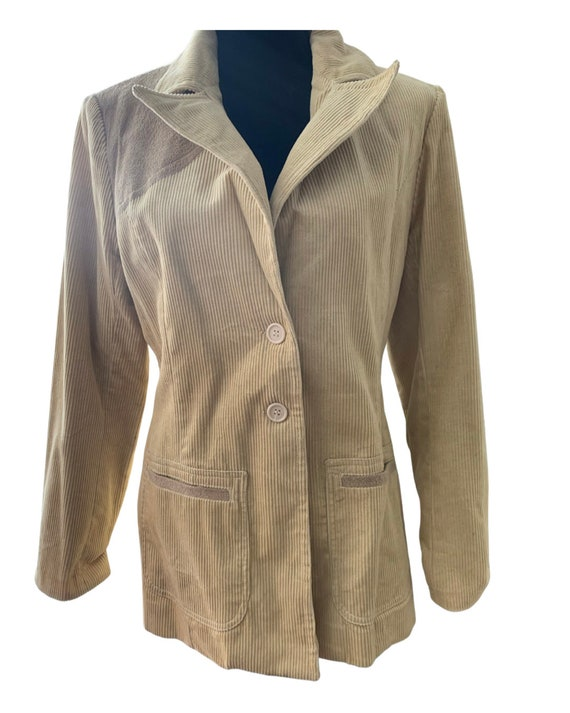 Classic Corduroy Blazer, Beige Tan Jacket with Tan Suede Elbow Patches and accents, Gaimin by Huk A Poo, size medium