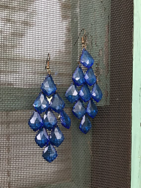 Vintage Colbalt Blue lucite Crystal Chandelier Dangle Earrings
