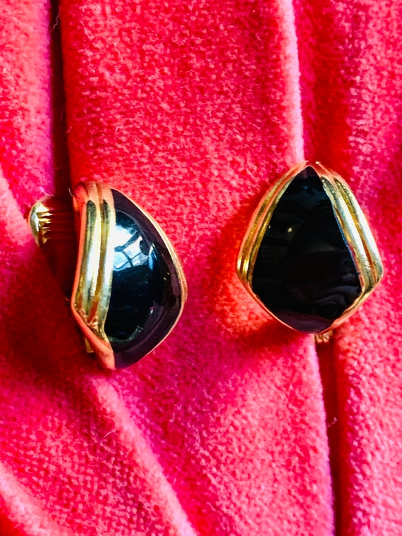 Quality Monet Black and Gold Enamel Earrings, Signed Vintage 70s Costume Jewelry, Modernist Chic & Sleek French Clip ons