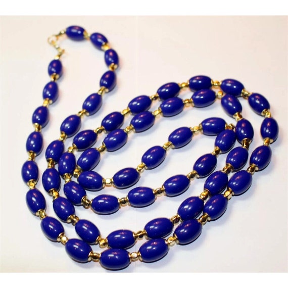 Fantastic Necklace Royal Blue Lucite Beaded Necklace with gold accent beads stunning