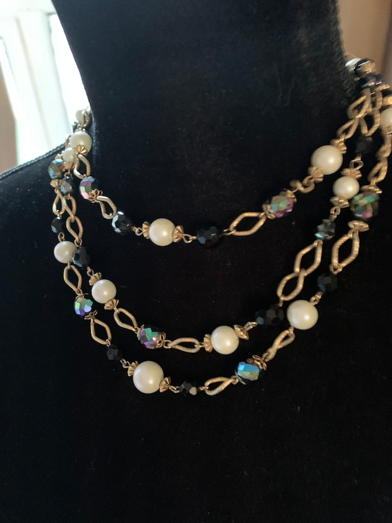 Vintage Golden Chains with Jet & Faux Pearl Beads Multi Strand Statement Necklace, Elegant Choker