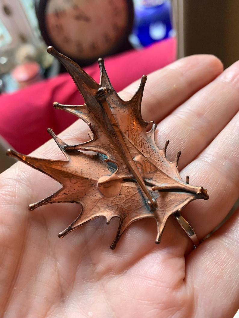 Vintage Copper Dipped Leaf Unisex Lapel Pin