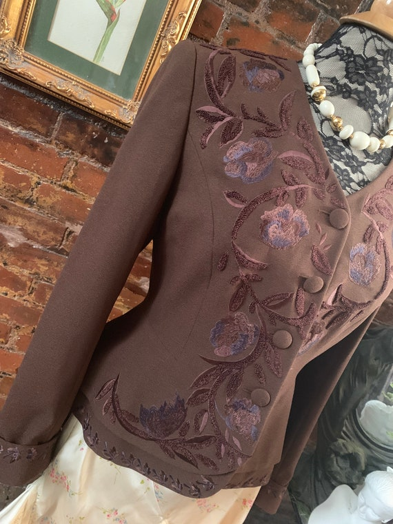 Vintage 90s Glamour Wardrobe, Elegantly Embroidered Peplum Riding Jacket by John Meyer of Norwich, Chocolate, size Medium