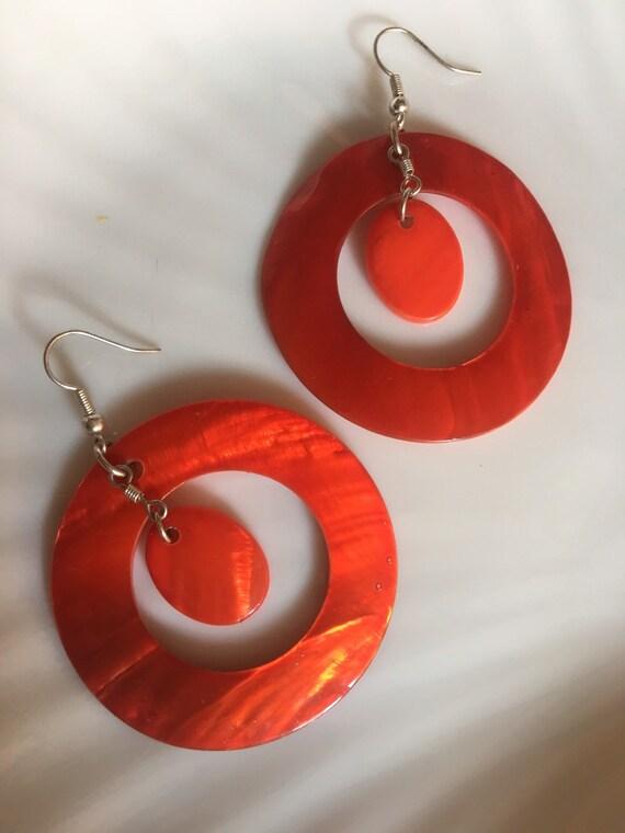 Geometric Modernist Firey Blood Orange  Enameled Shell Big Bold Hoop Dangle Earrings, red mother of pearl  Mod Hoops, now Trending dyed MOP