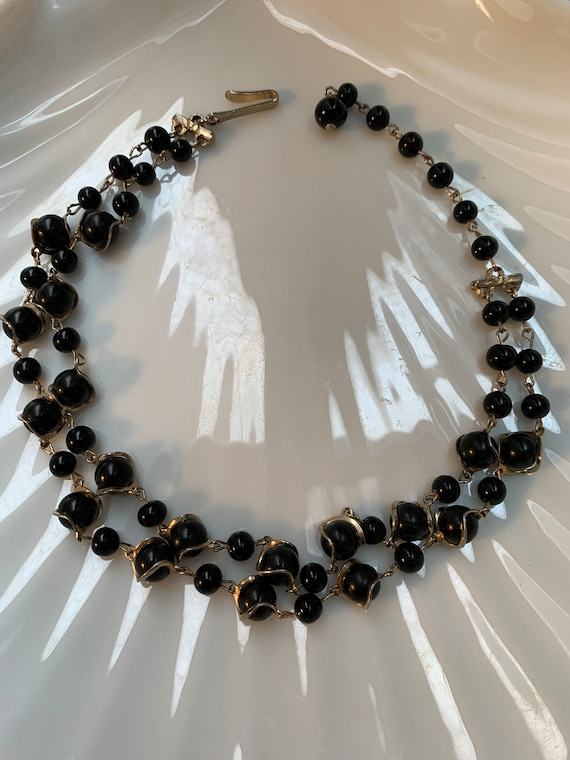 Cool Mid Century Black Bead Choker with Golden Atomic Spirals, Black Lucite Pearl Cocktail Necklace
