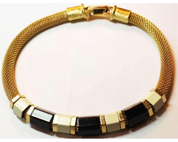 Disco 70s Vintage Gold Mesh Choker Necklace with Large Cream & Black Enamel Beads