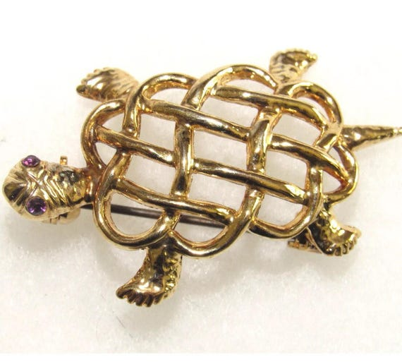 Vintage Celtic Knot Turtle Pin Brooch, Gold Plated with Amethyst Glass Rhinestone Eyes