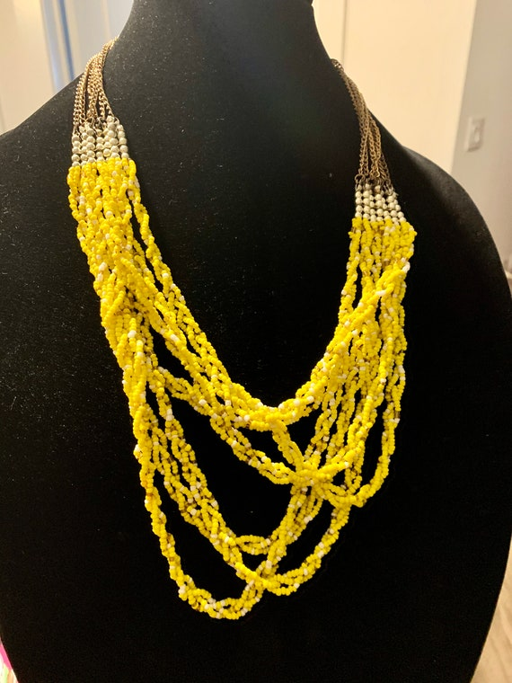 Yellow Seed Beads, Bright Lemon Citrus Colored Multi Strand braided Southwestern Style Statement Necklace