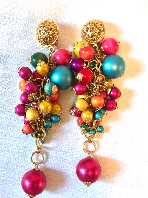 Huge Fruit Salad Carmen Miranda Long Dangles, Rainbow Cluster Beaded Awesome 80s Glamour Jewelry Runway Statement Earrings