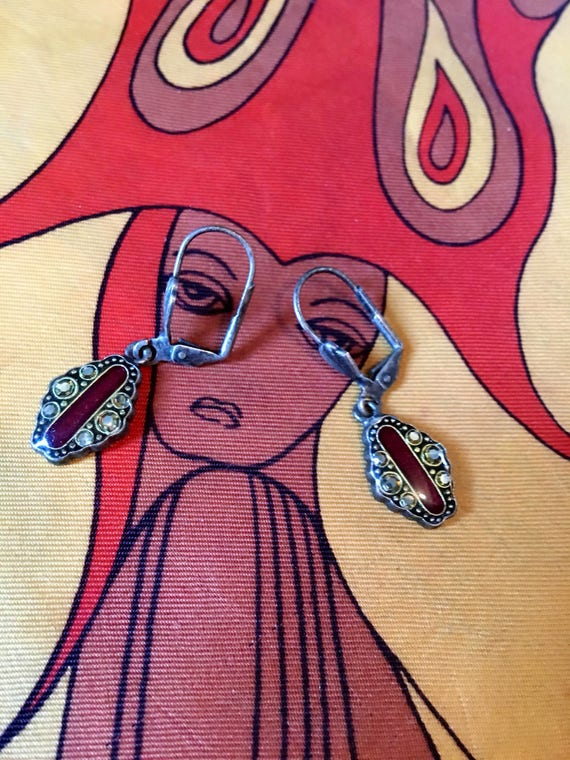 1980's Deco Reddish Brown Enamel Romantic  Dangle &  Drop Earrings