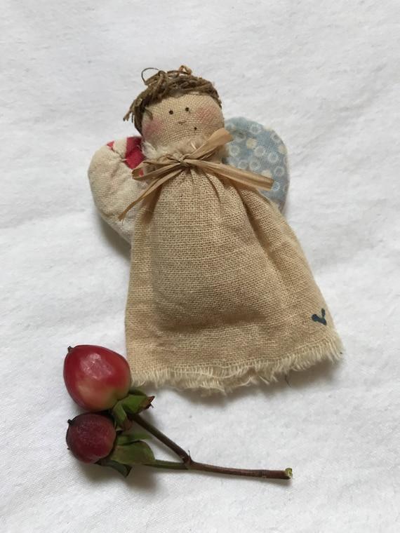 Vintage Puff Angel Doll fabric Holiday Kitschmas Pin Brooch so sweet &  Cute