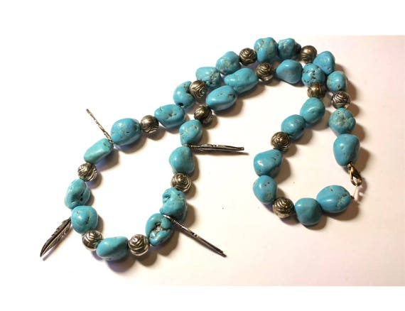 Turquoise Stone with Rose & Feather Silver Beads  Southwestern Necklace, Sassy 80s Glam Boho Gypsy Cowgirl Vintage Necklace
