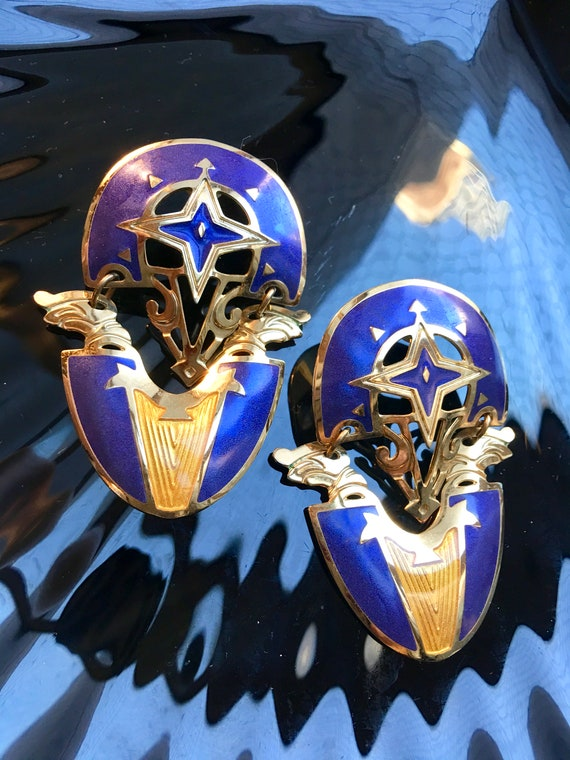 Edgar Berebi Blue Enamel Chandelier Dangle Earrings, 80's Big Glamour Jewelry Statement Earrings, Avant Garde New Wave Modernis Jewelry