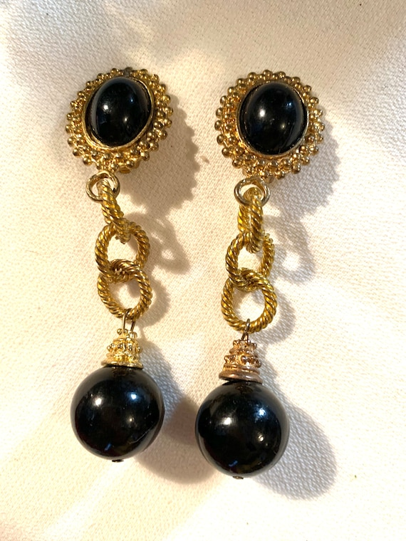 Gothic Black & Gold Dangles, Dramatic Vintage Glamour Jewelry Statement Earrings, Big Bold Bling, 80s Costume Jewelry