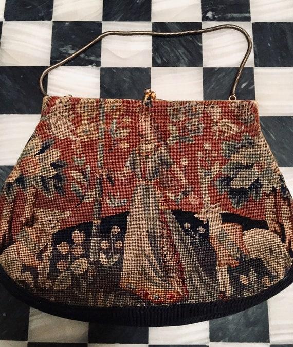 Vintage Tapestry Evening Bag, Small Versatile Romantic Victorian Revival Handbag Clutch