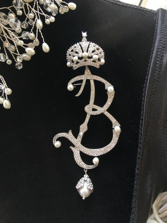 Exquisite Huge Pearl & Rhinestone Monogram B Pin, Regal Crown atop Scrolling Ice and Pearls Letter B Unisex Lapel Pin, Vintage Dangle Brooch