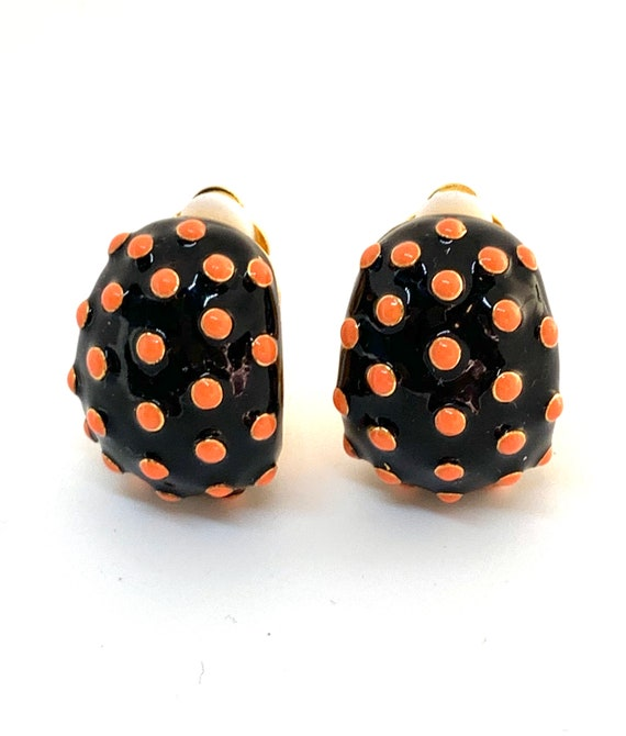 Punky Polka Dots! Black and Orange Enamel Clip ons, Signed Vintage Costume Jewelry, Joan Rivers Statement Earrings