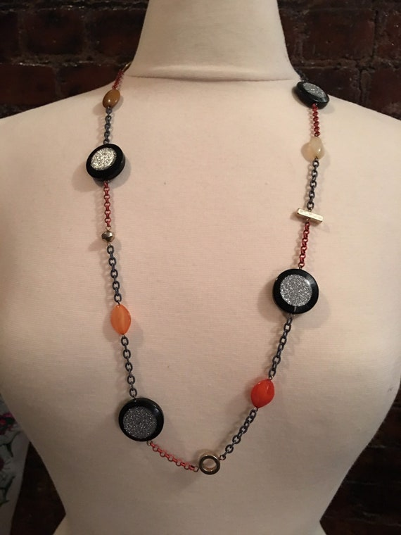 Funky 70s 80s modernist Necklace of Black Lucite Cabochons with Silver Glitter Orange Painted Chain And Goldtone forms Beautifully Ugly