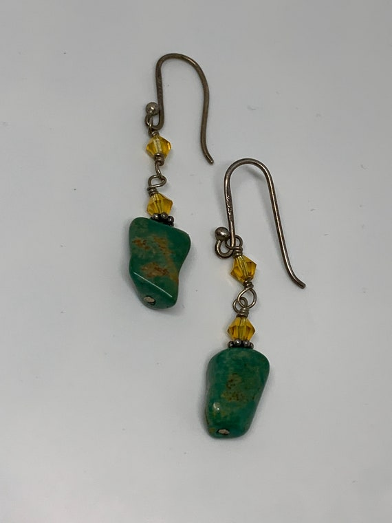 Mid Century Green Polished Stone & Silver 925 Dangle Earrings with yellow crystal bead accents