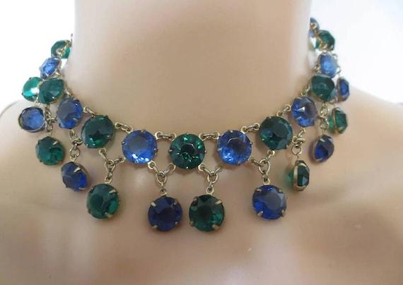 Glamourous Bezel Set Vintage  60'S Oversized Sapphire & Emerald Crystal Bibbed Collar Statement  Runway Choker Necklace