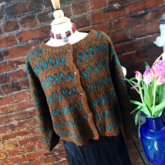 Vintage Italian Woodward & Lothrop Rusty Orange /Teal paisley  Mohair like Acrylic 80's trendy Sweater Size L MINT condition