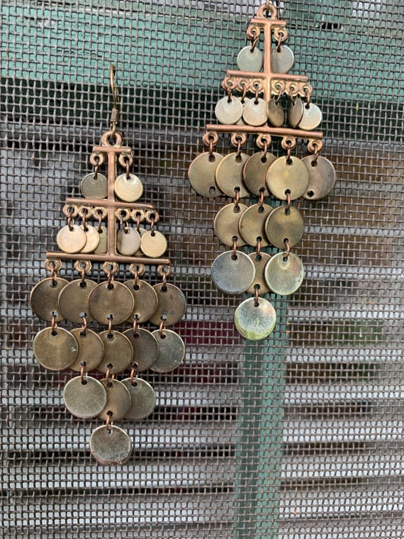 Gothic Bronzy Fish Scale chandelier Dangles, Vintage Boho Glam, Tribal Statement Earrings