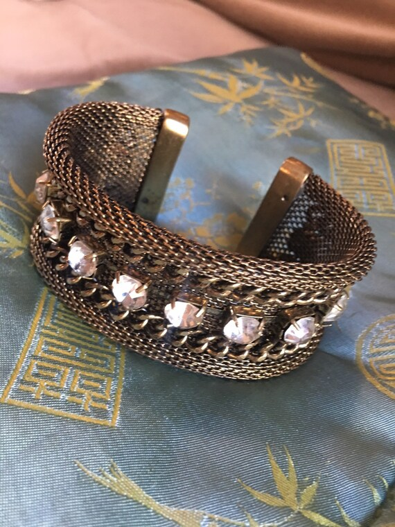Runway Fashion Goldtone Mesh and Chain Wide Cuff Unisex Bracelet with Rhinestone Studs Tres Chic  Steampunk Gothic Mesh Cuff Glamour Jewelry