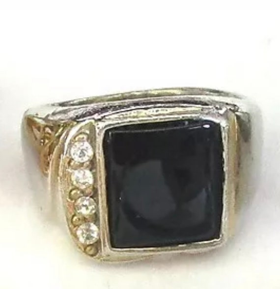 Chunky Vintage Black Onyx Cabochon and Rhinestone Silvertone Mens Statement Ring Size 9