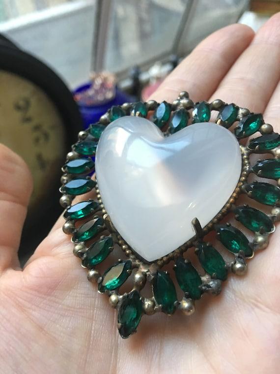 Opalescent Glowing Heart & Emerald Rhinestone Unisex Lapel Pin, Glamour Wedding Commitment Jewelry, Gift of Love