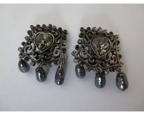 A Romantic Pair of Vintage designer signed Christian Lacroix Runway Clip Earrings with Crystal hearts framed in elegant scrolling & pearls