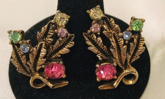 Mid Century Vintage Signed Karu Arke INC Screw back Rainbow Colorful Floral Rhinestone Earrings