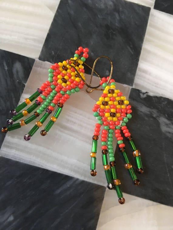 Boho Vintage 70's Western Southwestern tribal Style Seed Bead Earrings Orange Green & Yellow