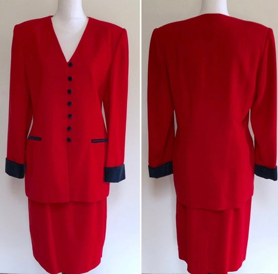 Oleg Cassini Red Skirt Suit with Black Velvet Cuffs, Glamorous Wool Blazer & Pencil Skirt