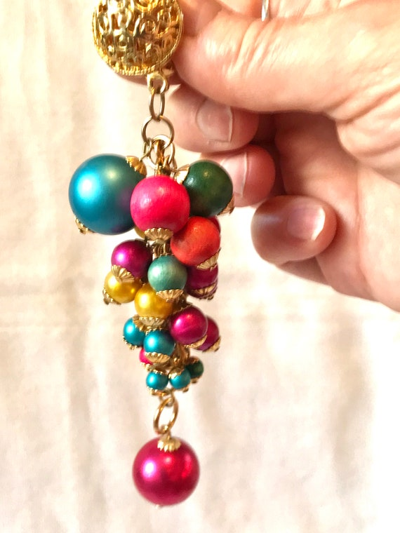 Huge Vintage Rainbow Fruity Carmen Miranda Dangle Statement Earrings