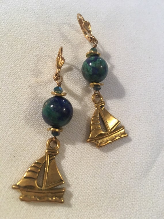Brassy Goldtone & Bluegreen Gemstone Dangle and Drop Nautical Ship Sailboat Earrings
