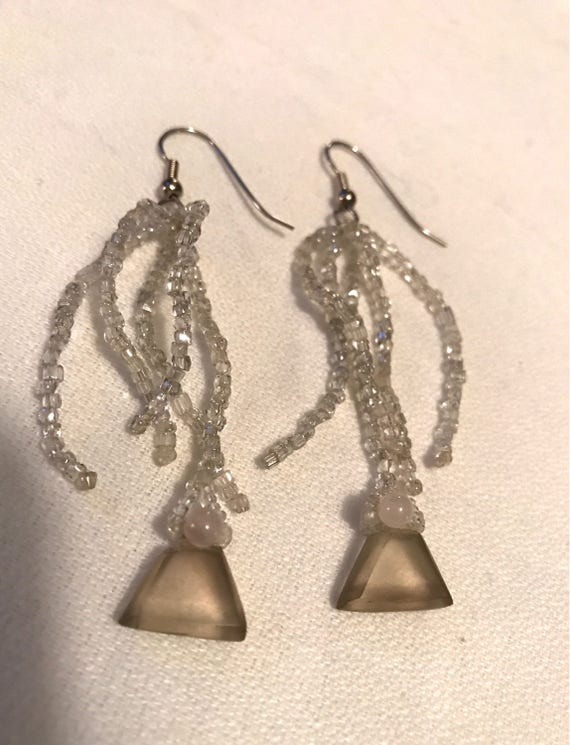 Beautiful Boho glamour holiday ice crystal seed bead Dangle Earrings with smoking crystal bobs