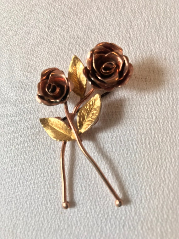 Coro Rose Lapel Pin,  Rose Golden Floral Corsage Boutonnière