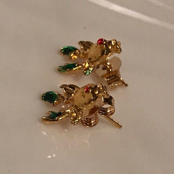 Tiny Unworn Vintage Rudolph the Red Nosed Reindeer Goldtone Christmas Holiday Post back Earrings