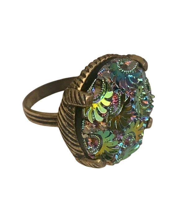 Vintage Carol Lee Cocktail Ring Elegant Rainbow Iridescent psychedelic Paisley Adjustable Statement Ring With Ornate Watermelon Glass Gem