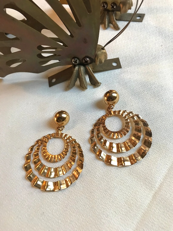 Mid Century Modern Geometric Triple Hoop Earrings, Golden Chevron Deco Fan,  Modernist Corrugated Hoop Chandelier Statement Earrings