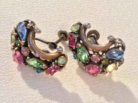 Signed HollyCraft 1953 Pastel Crystal Gem Rainbow Earrings, Dreamy Vintage Baubles for your Princess, Hollywood Regency Screw Back Earrings