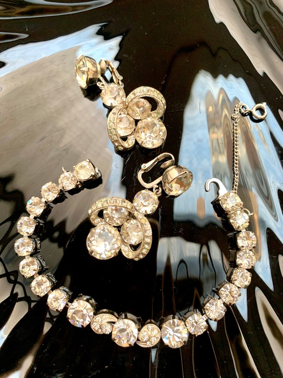 Striking Eisenberg Rhinestone Statement Earrings & matching Sparking Bracelet, High End Ball Formal Glamour Jewelry, ICING!