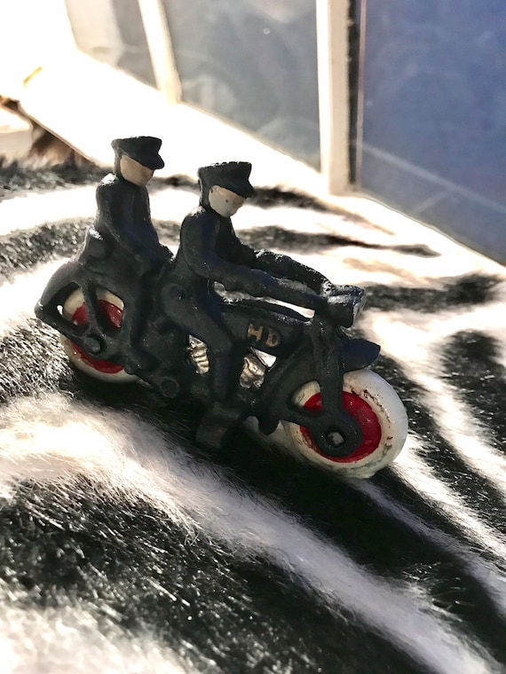 Miniature Cast Iron Harley Davidson Figure Toy with Two Policemen Riders