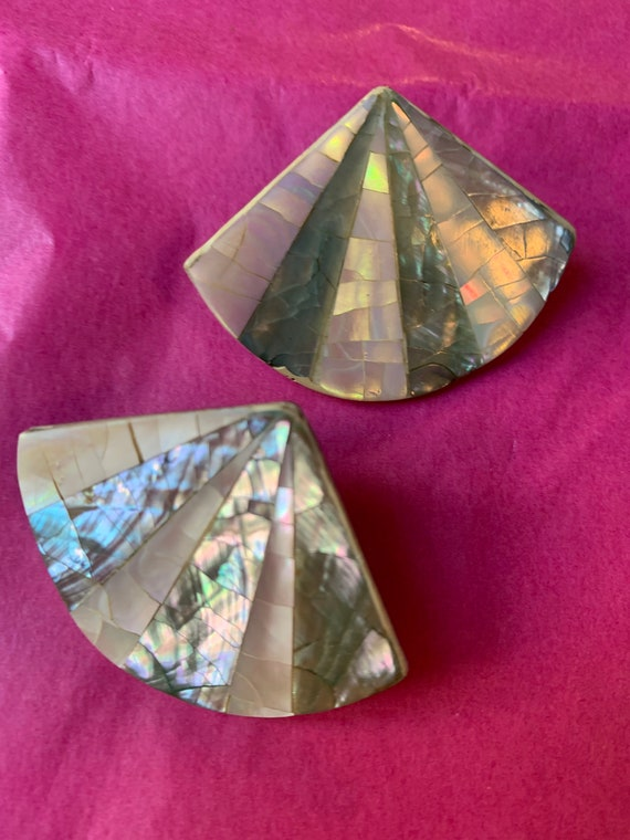 Mother of Pearl and Abalone Fan Statement Earrings , Art Deco Vintage Shell Jewelry