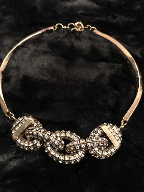 Heavy Bold Bling Ice Crystsl Encrusted Large Chain Motif Goldtone gothic Brutist choker collar necklace